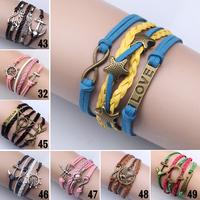 Women Vintage hand Love Infinity Anchors Rudder Rectangle Leather Bracelet Multilayer bracelets&bangles