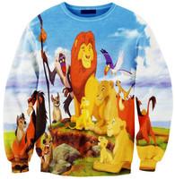 New 2015 Womens Sports Costumes THE LION KING Print Hoody Tops Simba Novelty Sweater Shirt Casual Sweatshirt Brand Hoodies