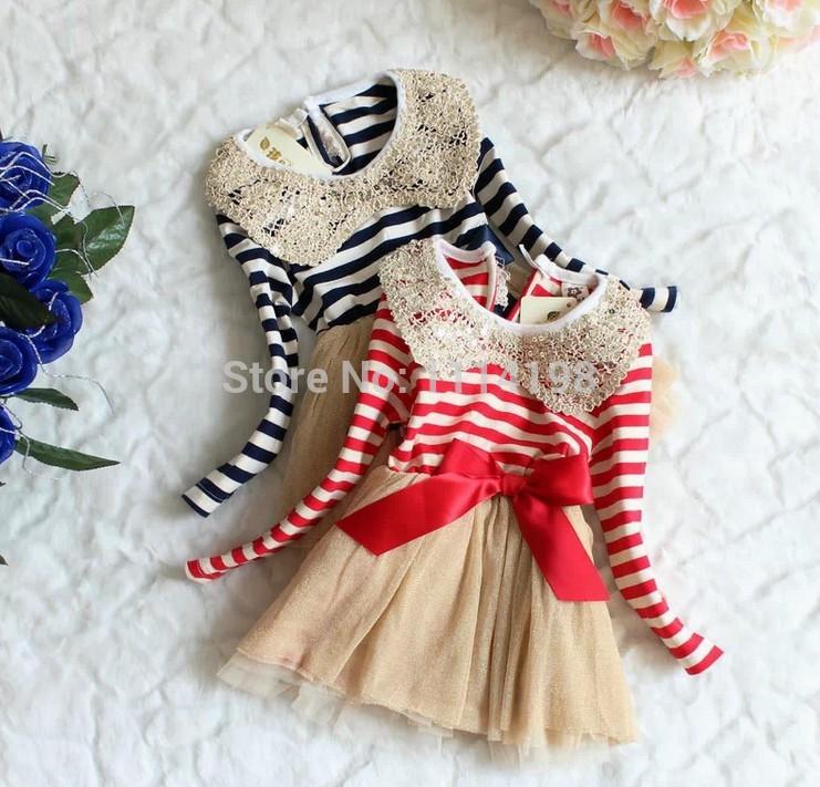 2014 Kids Girl princess Dresses Stripe Tutu Fall Autumn baby Chiffon Dress Sequins Collarparty clothing(China (Mainland))