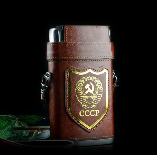10 oz Stainless Steel Hip Flask Whiskey Liquor Russian Flagon CCCP Black PU Leather Cover Free Funnel(China (Mainland))