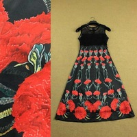 New Arrival 2015 Spirng Summer Women's O Neck Sleeveless Sexy Hollow Out Patchwork Printed Floral Elegant Runway Dress