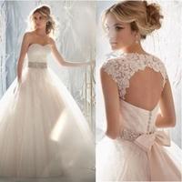 New Design A-line Sheer Neckline Embelished With Crystal Beads Tulle & Lace Wedding Dress 2015 Bridal Dress
