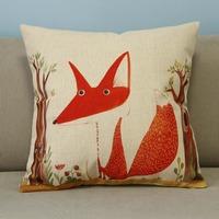 "Lovely Beige Cartoon Animal Fox Trees Cotton Blend Linen Pillow Case Decor Cushion Cover Square 18"""