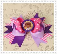 6pcs /lot  bottle cap doc mcstuffin hair bows for children accessory