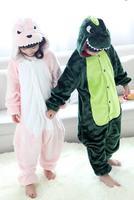 Children Flannel dinosaur Animal Jumpsuit Sleepwears Pink and green animals Hooded Pyjama Cosplay Costumes uniform