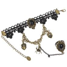 Xmas Lace Bracelet Flower Rings Gothic Lolita Punk Party Belly Dance