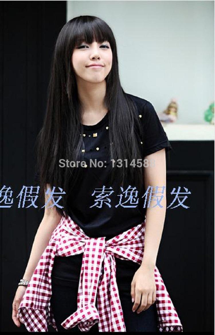 Корейский мода длинные вьющиеся волосы косой челкой парик высокая температура проволоки я светло-коричневый парик...