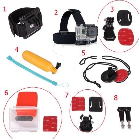 Gopro Accessories Set J-Hook Buckle Bobber Floating Handheld Wrist Band Head Strap 3M Sticker Ski Surf For GoPro Hero HD 1 2 3(China (Mainland))