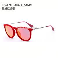 Free Shipping fashion woman retro brand RB4171-F name erika velvet sunglasses mirror red orange mirror 54mm