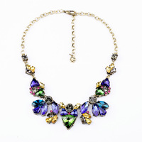 Fashion Gemstone Jewelry Statement Necklace Lady Dot Lab Mixed Multi Color Crystal Gorgeous Necklaces Pendants