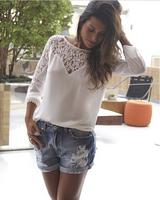 2014 Blouses Shirts Women Blouses white lace blouse for women tops chiffon blouses tropical renda blusa crochet plus size
