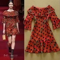 2015 fashion polka dot print ruffle three quarter sleeve one-piece dress