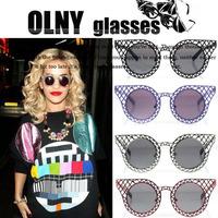 House of Holland Sunglasses Brand designer Rihanna round frame metal carved Eyewear cat eye glasses s888