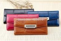 Free Shipping New Oil wax cowhide Women's Genuine Leather wallet,long style women's wallets purses,Lady's Handbags LYPL-8001Y
