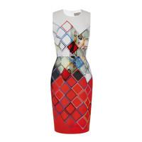 Free Shipping New Arrival Stunning Printed Sleeveless Slim Dress 141201WG01