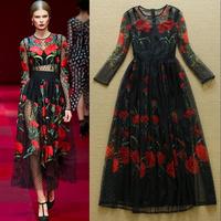 2015 fashion ruslana korshunova elegant sexy gauze print elegant aesthetic full dress one-piece dress