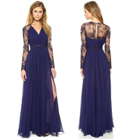 Hot !! Star fashion  transparent lace flower decoration women long dress sexy solid color party dress evening dress