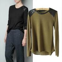 2015 Fashion Shoulder Stitching Long Sleeve Turtleneck Knitting Shirt for Women