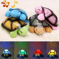 Free Shipping Hot SleepTurtle Musical Night Light Sky Projection Lamp Starslamp Plush Toys Gift for Baby Children