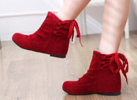 New Women's Suede Autumn Solid Color Back Lace Up Cotton Boots Height Increasing shoes short Boots Martin boots Free shipping