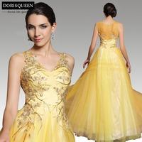 Dorisqueen latest design chiffon free shipping beaded tulle sequins 31198 V neck yellow long zuhair murad evening dresses 2014
