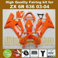 Injection mold glossy orange fairings for KAWASAKI NINJA ZX6R 636 03-04 ZX-6R 2003-2004 6R 03 04 ZX 6R 2003 2004 fairing kit FFG