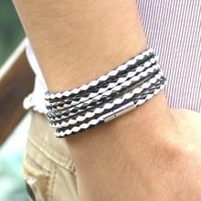 New Fashion 5 layer Leather Bracelets charm Bangle Handmade Round Rope Turn Buckle Bracelet For Women