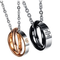 His & Hers Matching Set 316L Stainless Steel Couple Pendant Necklace Promise Jewelry One Pair in Gift Box