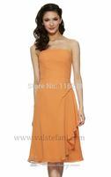 Women Orange Chiffon Short  Bridesmaid Dress Gowns Girls Strapless Knee Length Party Prom Dresses