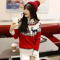 Pattern Sweater 2014 woman Fashion NEW Autumn Casual Long sleeve WOOL Sweaters WINTER Christmas deer snowflake KNIT WARM PULLOV