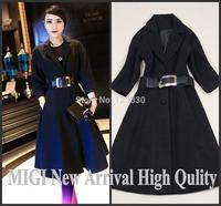 High QUALITY New 2014New Fashion Winter Coat Women's Elegant Epaulet Slim Wool Coat With Belts Ladies Overcoat C1099