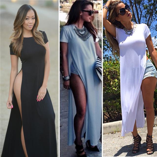 Платье бандажное, знаменитости сексуальный женщины платья высокая сторона разделяет макси длинная тройник vestidos партии свободного покроя клубная одежда белый / черный