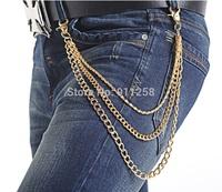 New Men Golden Waist Chain All-match Fashion Metal Pants Chain Jeans Accessories Belt Chain FS3207