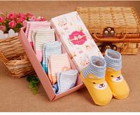 5PCS/box Winter Newborn Baby Cotton Socks Cute Character Bear Horizontal Stripes Socks Non-Slip Home Floor Socks Christmas Socks