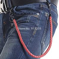 Coffee/Purple/Red/Blue/White 5 Colors Men PU Leather Belt Chain Waving Pants Chain Hip Hop Waist Chain FS3204