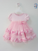 baby formal summer pink rose dress, 100% cotton top with rose style underskirt ,2 lines of chiffon rose surround the skirt