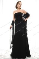 Strapless Sheath A-line Floor Length Chiffon Black Mother of the Bride Dresses with Shawl