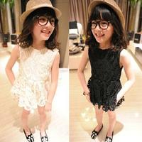 2014 summer white girls dress Fashion lace sleeveless pure color hollow-out sundress princess dress