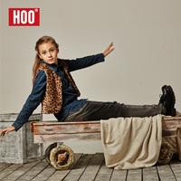 2014 hoo children's autumn clothing mid waist female big boy jeans girl teenage slim long trousers