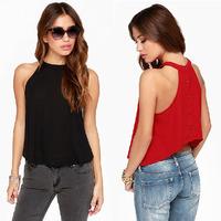 2015 Spring Summer Brief Blusa Feminina High Quality Sleeveless Vest Back Rivet Women's Cropped Chiffon Blouse Black Red C164