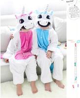 2014 Cute Flannel Jumpsuit pink and blue unicorn sleepwears Winter Warm animal Hooded Children Pyjamas
