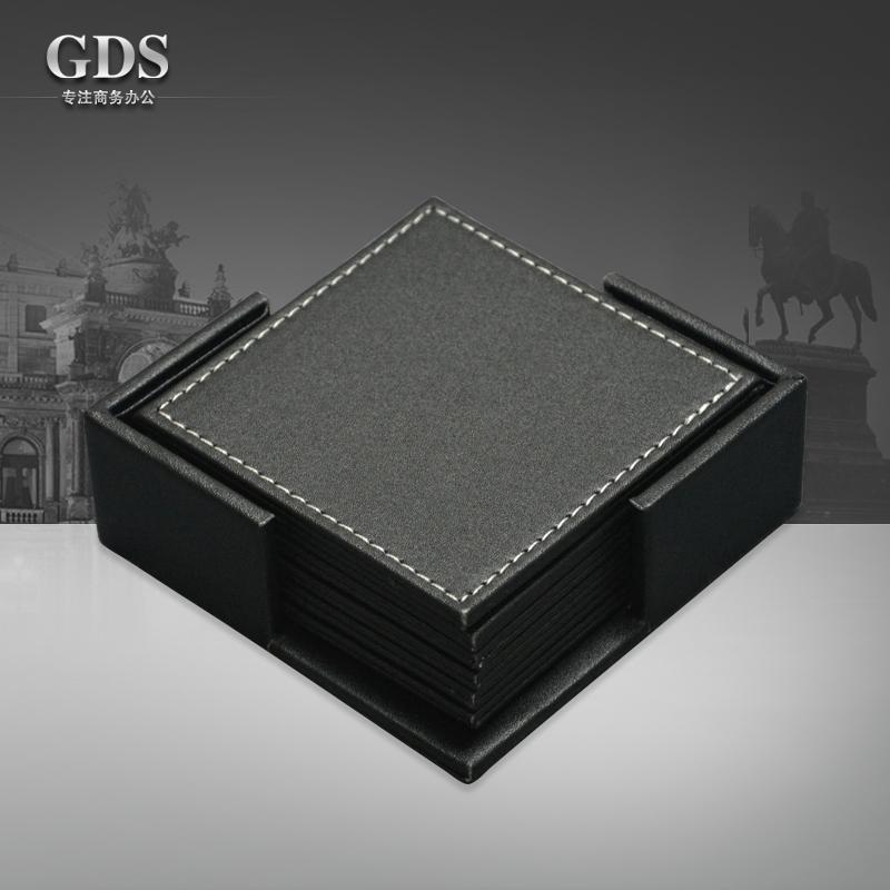 Gardensun 4'' 6pcs/set square PU leateher coffee tea cup pad cup mat coaster placemat black(China (Mainland))
