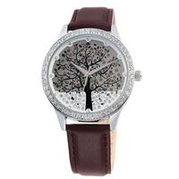 2015 New Arrival SKONE Leather Watch Brand Clock Diamond Watch Quartz Watch Christmas Tree Design Clothes