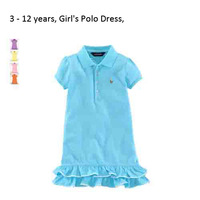 3-12year NEW 1PC/Lot Summer Baby Girls Cute Sport POLO Dress Girl Cotton Fashion Sport short sleeve CHILD DRESS GIRL Free Ship