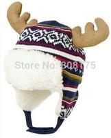 Christmas Gifts Christmas baby boys and girls winter knit hat reindeer antlers deer velvet ear cap