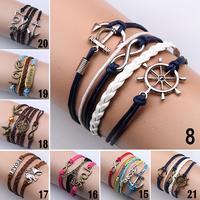 Women Vintage Owl Love Infinity Anchors Rudder Rectangle Leather Bracelet Multilayer bracelets & bangles