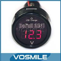 100PCS 12V24V Car Voltmeter 2in1 USB Car Charger Cigarette Lighter Car Battery Voltage Monitoring Cigarette lighter power#100001