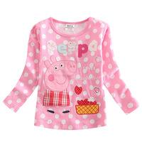 Children 2014 spring new foreign trade children's clothing cute pig girls long sleeve t shirt bottom F4245 girl dress