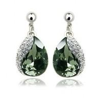Austrian crystal drop earrings 925 atmospheric luxury noble love free shipping.
