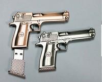 Free shipping 4GB 8GB 16GB 32GB metal pistol gun usb flash drive memory stick pen